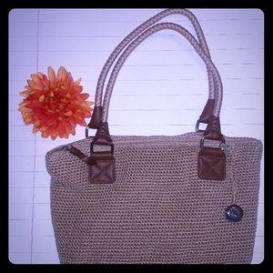 The sak boho crochet Cambria Bamboo Tan Bucket Bag